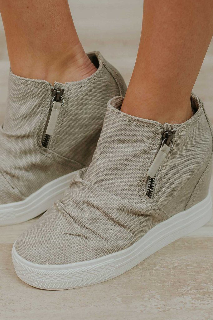 Not Rated Arabelle ~ Light Grey wedge sneakers. #BYBStyle