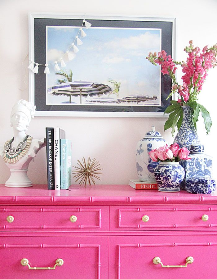 The Pink Pagoda: Blue and White Monday: One Room Challenge - ginger jars and vases on pink dresser with bamboo moulding and brass hardware
