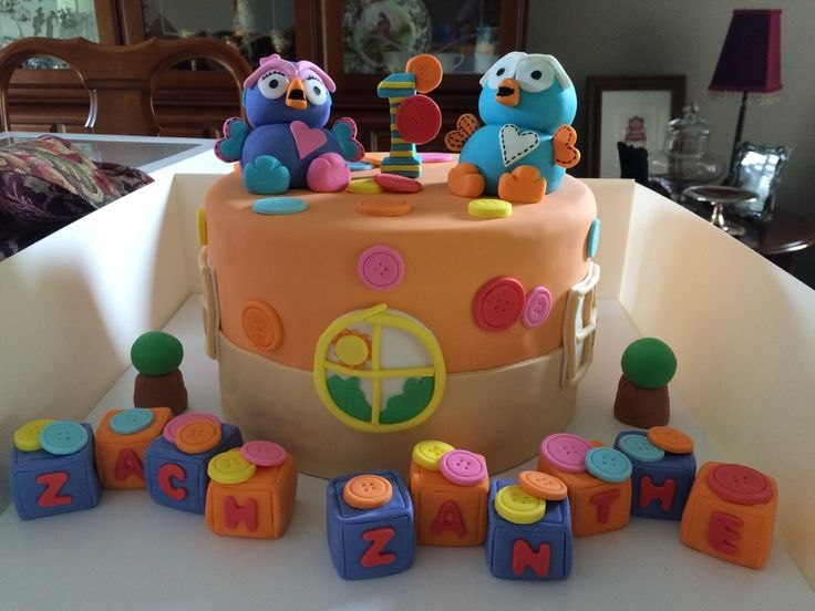 Hoot and hootabelle 1st birthday cake