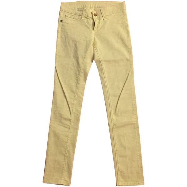 Pre-owned Super Skinny jeans (£41) ❤ liked on Polyvore featuring jeans, yellow, skinny fit denim jeans, yellow skinny jeans, beige jeans, cut skinny jeans and super skinny jeans