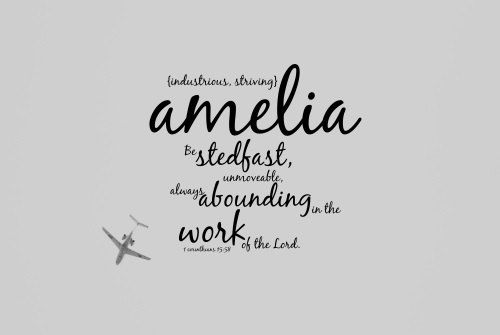 Amelia Name art Scripture quote Baby girl Bible verse typography Childrens Christian print Airplane aviation Plane Pilot Air force Work Lord