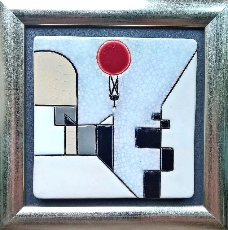 """Small  ( 12 x 12 cm) ceramic pictures , inspired by a painting by Paul Klee """" Red balloon"""", handmade, art ceramic, hand painted, Paul Klee, pictures , ceramic,"""