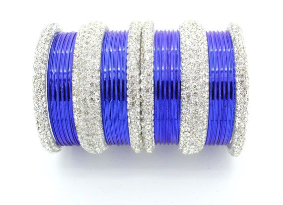 30 Royal Blue Silver Diamante Indian Bangles Indian by Glimour