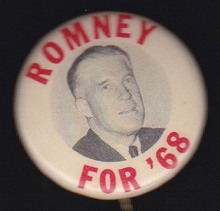 1968 GEORGE W ROMNEY Republican Political Campaign Pinback Pin Button Badge