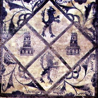 Ceiling tile from manises valencia with the arms of castile and
