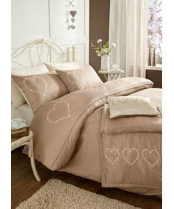 Catherine Lansfield Gold Deco Hearts Duvet Cover Set-Double.
