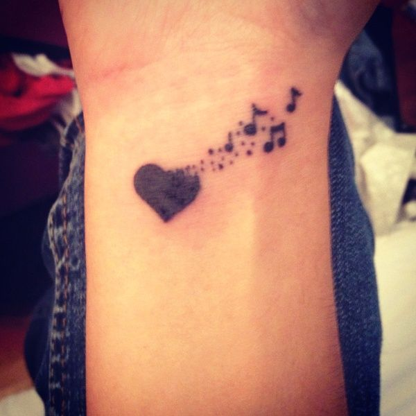 Cute music notes and heart wrist tattoo