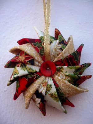 Star ornament made with prairie points-Use Google Translate!!!