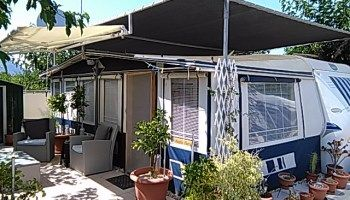 Hobby Caravan with Levooz Awning For Sale - Camping Villamar Benidorm £17,500