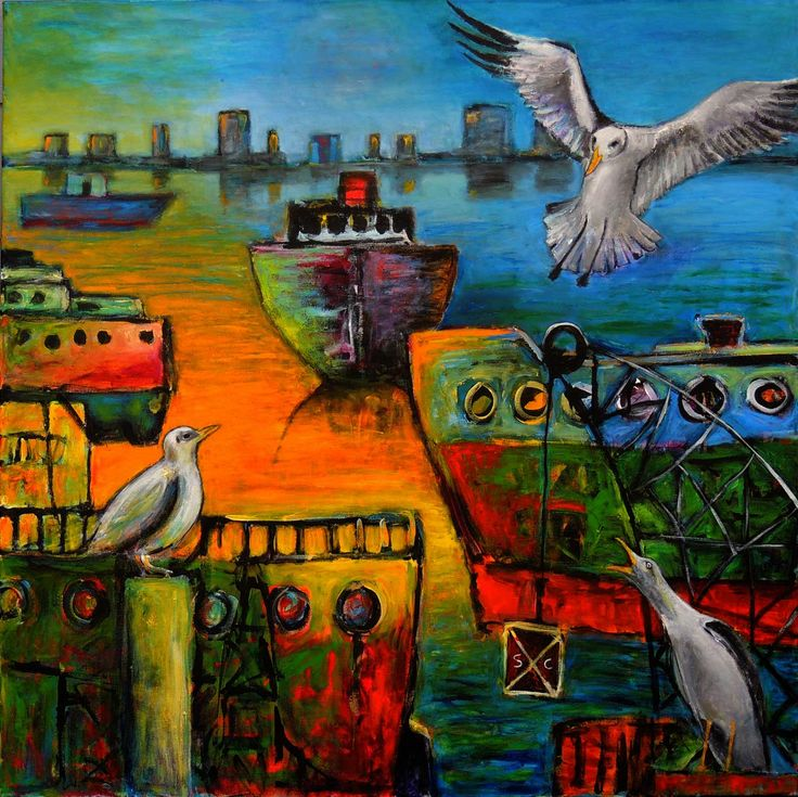 'SOLD 'Saltwater and seagulls I' the left-hand panel of a diptych commission with an imaginary view of Fremantle Harbour. In this painting, I combined realism with naivety. The ships are simple, childlike and in the plane of the painting, while the distant view and the seagulls are realistic #JeremyHolton #Perth #Australia #Painting #Art