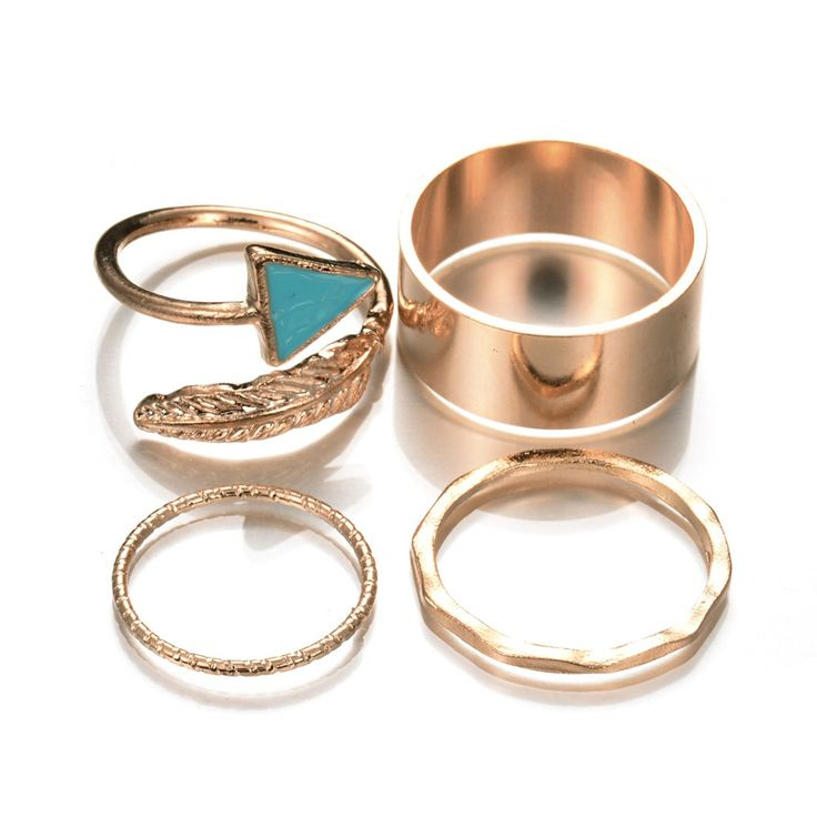 >> Click to Buy << Summer Style Hot Popular European Casual Jewelry Gold Color Geometric Enamel Leaf Punk Rings For Women 4 Pcs/Set #Affiliate