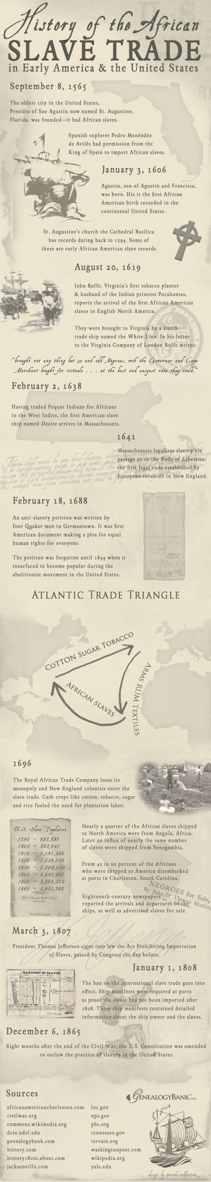 History of the African Slave Trade in America Infographic