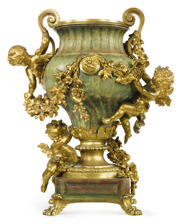 Robert Frères<br>A large gilt bronze mounted green onyx centerpiece<br>Paris, late 19th century   lot   Sotheby's