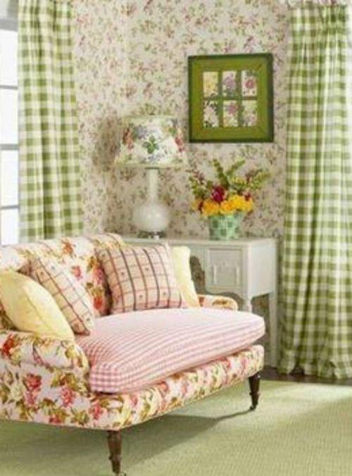 English cottage style- beautifully mixed prints.