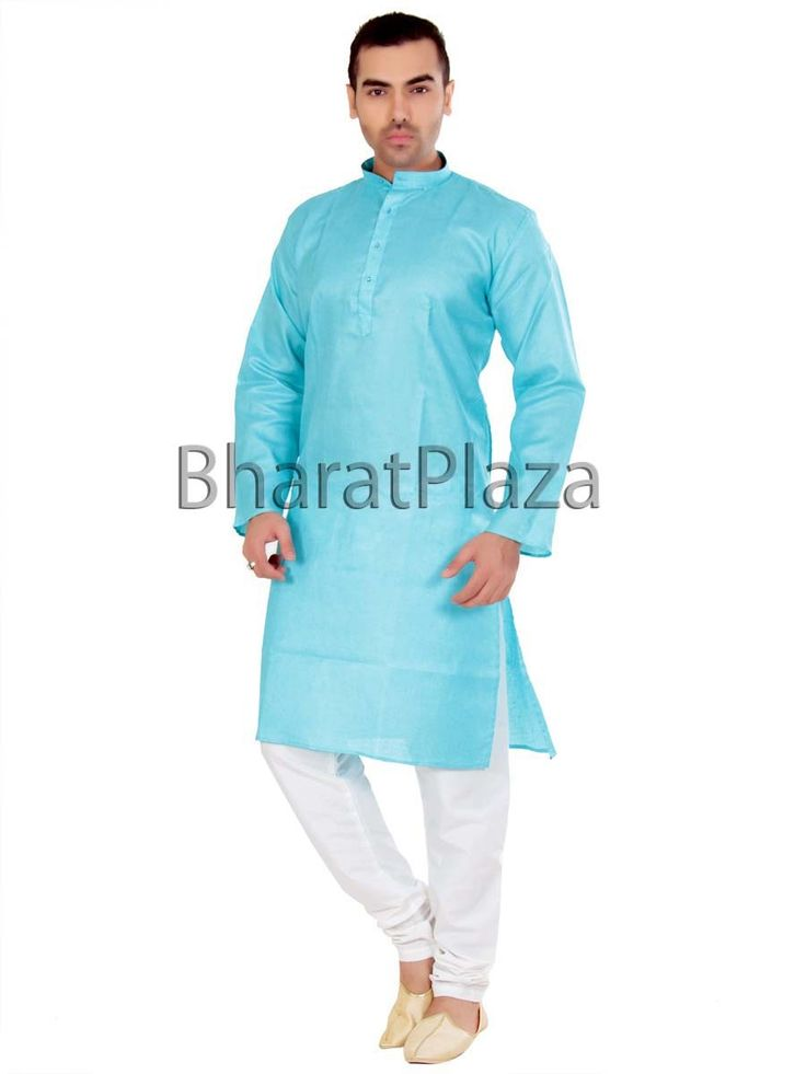 Voguish firozi color jute #Kurta comes with off white color churidar #Pyjama is supercilious.  Item code : SKPD1002F http://www.bharatplaza.com/new-arrivals/kurta-pyjamas.html