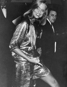 Lauren Hutton on her way into Studio 54