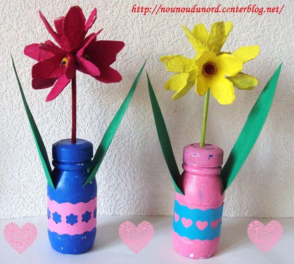 Fleurs réalisées avec des boîtes à œufs , explications sur mon blog