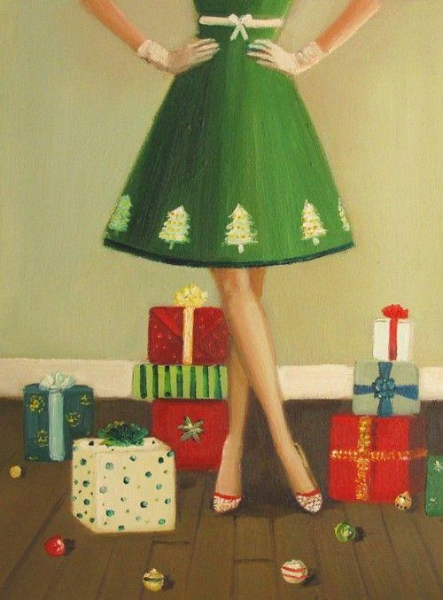 vintage christmas: Janet Hill, Vintage Christmas, Christmas Dresses, Christmas Presents, Green Dress, Christmas Trees, Trees Skirts, Vintage Cards, Retro Christmas