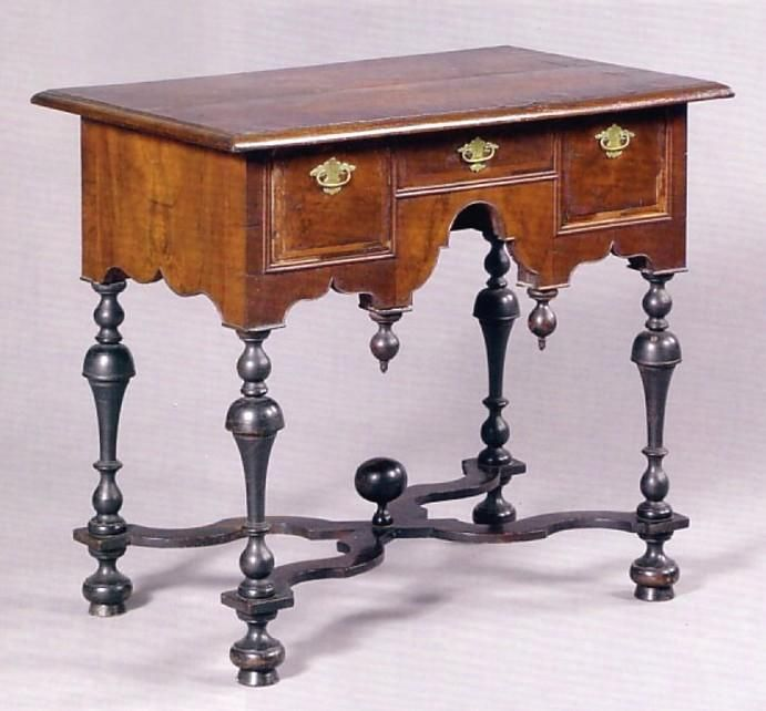 antique william and mary furniture | Furniture: Lowboy | William & Mary Walnut Trumpet Legs Cross