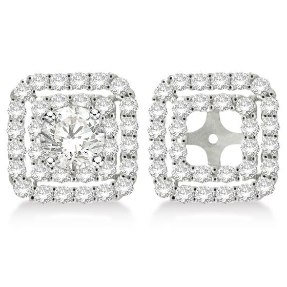 Pave Set Square Diamond Earring Jackets In 14k White Gold 1 05ct Princess Cut Earringsprincess