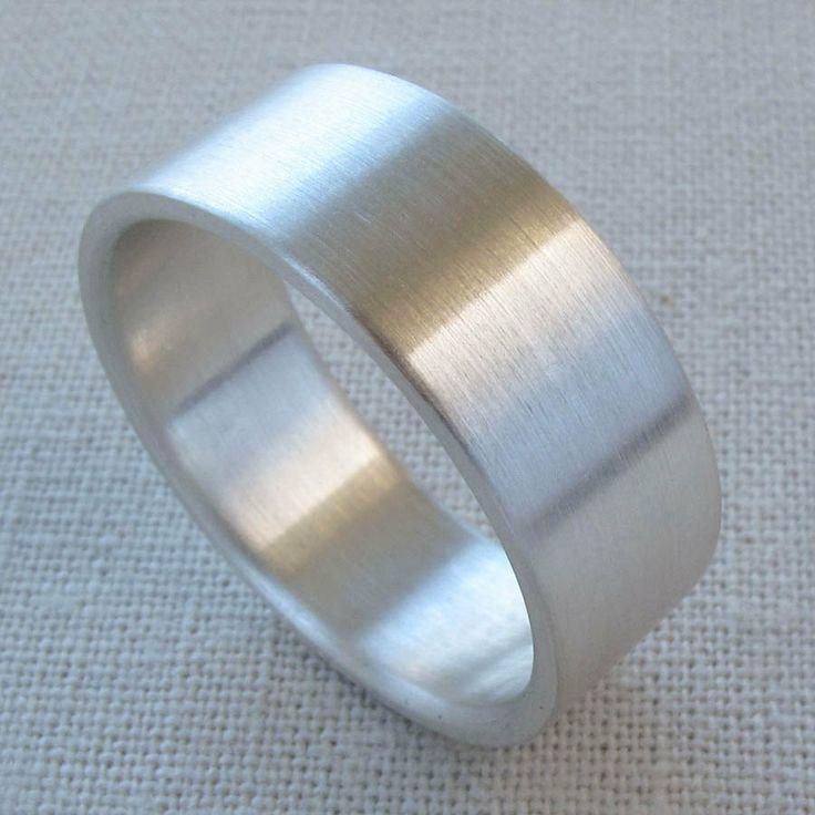 Mens Silver Wedding Band 8mm X 15mm