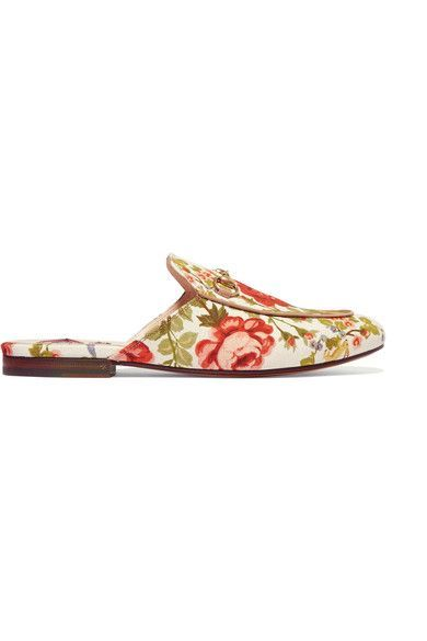 Gucci for NET-A-PORTER - Horsebit-detailed Floral-print Canvas Slippers - Off-white - IT35.5