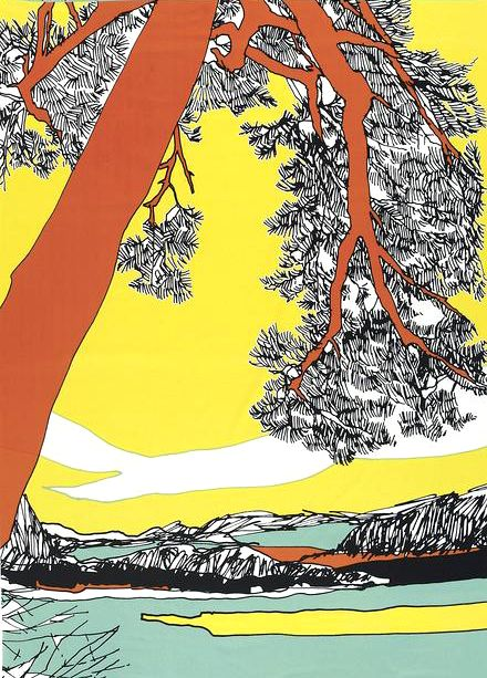 Marimekko fabric Love this perspective, like the arbutus at Hornby Island