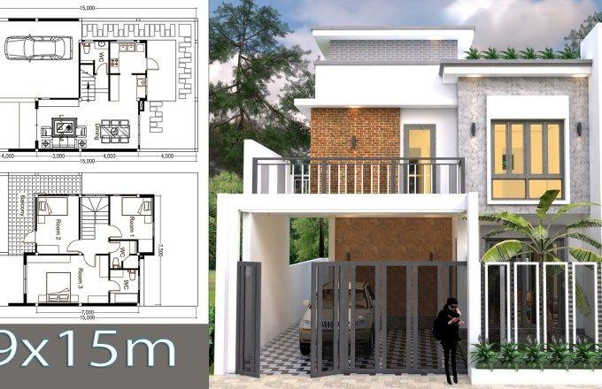 3 Bedroom House Plan Plot Size 9 15 Home Design Plan Bedroom House Plans House Plans