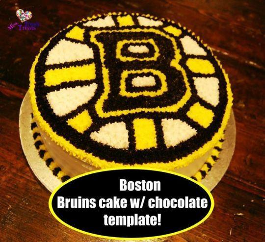 Boston Bruins cake w/ chocolate template!
