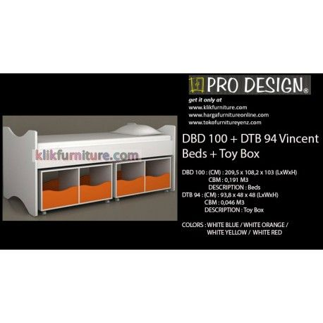 Harga Ranjang DBD 100+DTB 94 Pro Design Vincent Condition:  New product  DBD 100 : (1 set) Ukuran :(CM) : 209,5 x 108,2 x 103 (LxWxH) DESCRIPTION : Beds DTB 94 : (2 set) Ukuran (CM) : 93,8 x 48 x 48 (LxWxH) DESCRIPTION : Toy Box Tersedia warna : WHITE BLUE / WHITE ORANGE / WHITE YELLOW / WHITE RED