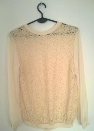 Kup mój przedmiot na #vintedpl http://www.vinted.pl/damska-odziez/bluzki-z-dlugimi-rekawami/11092028-elegancka-kremowa-mgielka-z-koronka