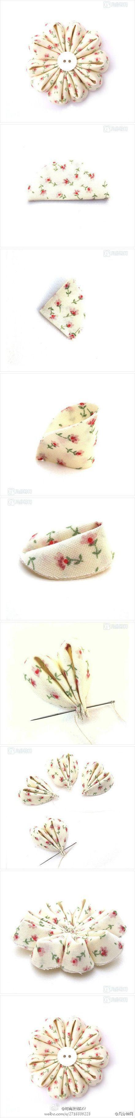 DIY fabric flower:                                                       …