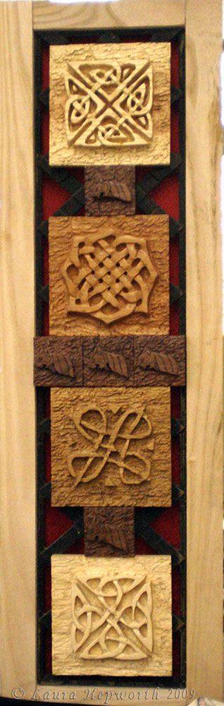 """Heritage""; Celtic knotwork carvings by Laura Hepworth (a.k.a. Handmaden Designs)."