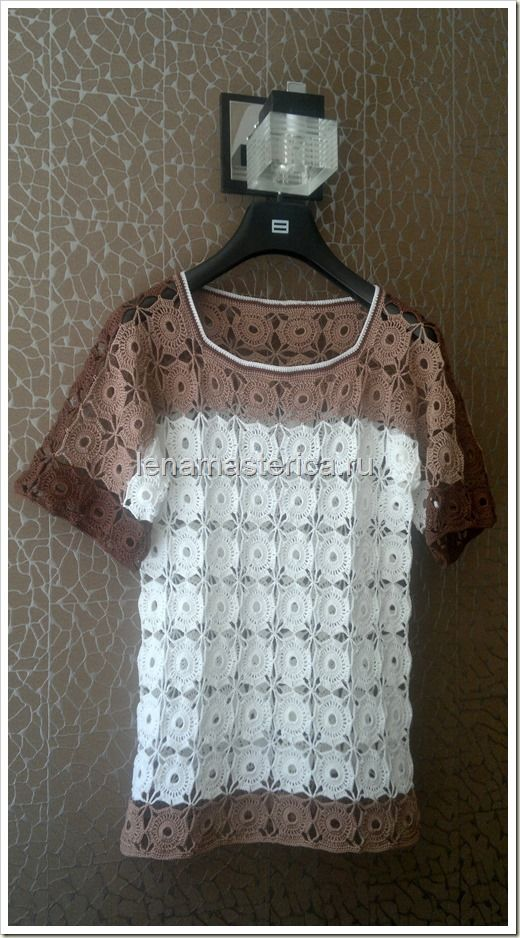 Crochet shirt with small pretty motifs; shirt is made in 3 colors with 3-color trim at neckline. Блуза крючком из мотивов