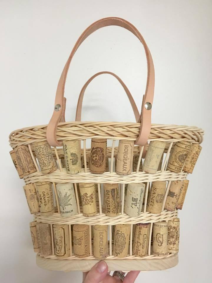 Wine cork tote basket made by Jen