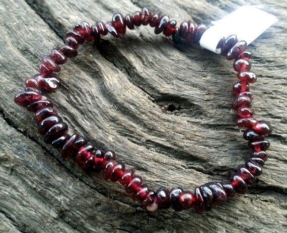Red Garnet Crystal Gemstone Chip Healing Beaded by crystalzngems
