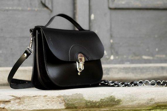 small leather handbag handmade black PATI SIZE L by ladybuq