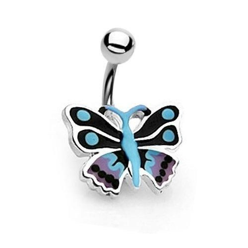 Bling Jewelry Blue Purple Enamel Butterfly Belly Button Navel Ring 316L Steel