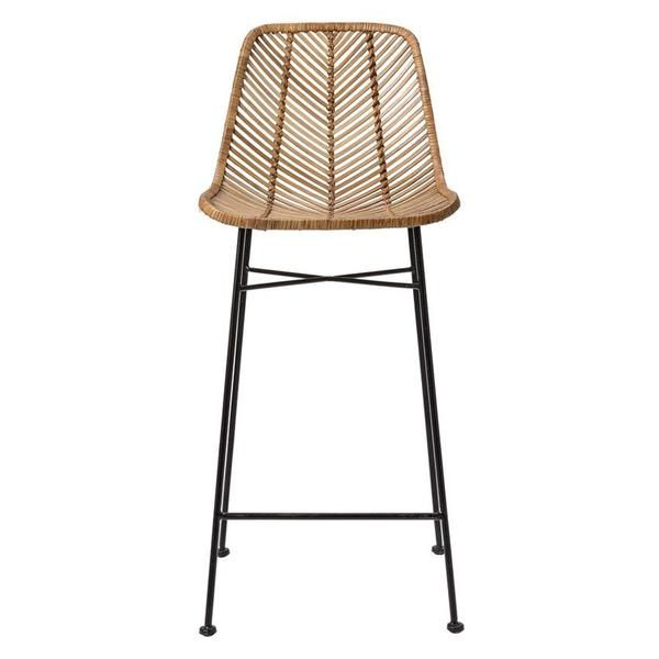 "Why We Love It Natural Rattan Bar Stool with Black Metal Frame More Information Dimensions: 20-1/2""L x 17""W x 40-1/2""H"