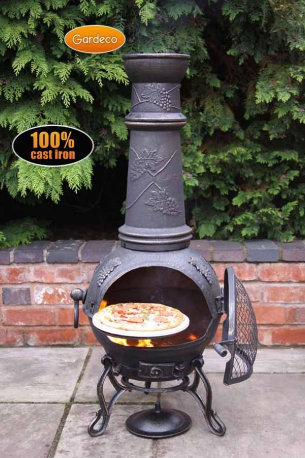 Gardeco Extra Large Toledo Cast Iron Chiminea In Bronze Grapes Chiminea Outdoor Cooking Stove Portable Fireplace