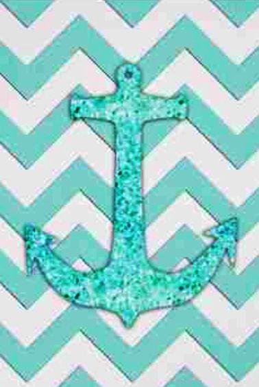 Glitter Anchor Blue Chevron IPhone Wallpaper