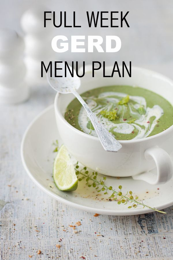 Free 7-Day Menu Plan to deal with Gastro-oesophageal reflux (GERD)