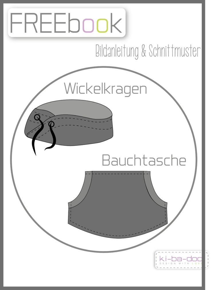Ergänzung Wickelkragen/Bauchtasche - Schnittmuster als Pdf Datei, versandkostenfrei!