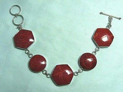 925-Sterling-Silver-Red-Sponge-Coral-Bracelet-12-8-grams-7-long
