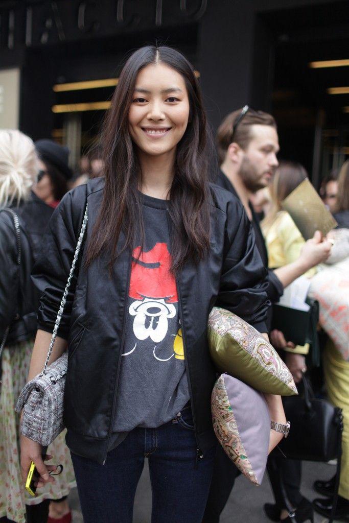 Cool t-shirts!  They Are Wearing: Milan Fashion Week SS 2014 #cartoon #print #liu wen