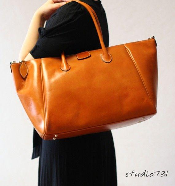 Elegant Formal Leather Shoulder Bag  Tan Brown by studio731, $160.00