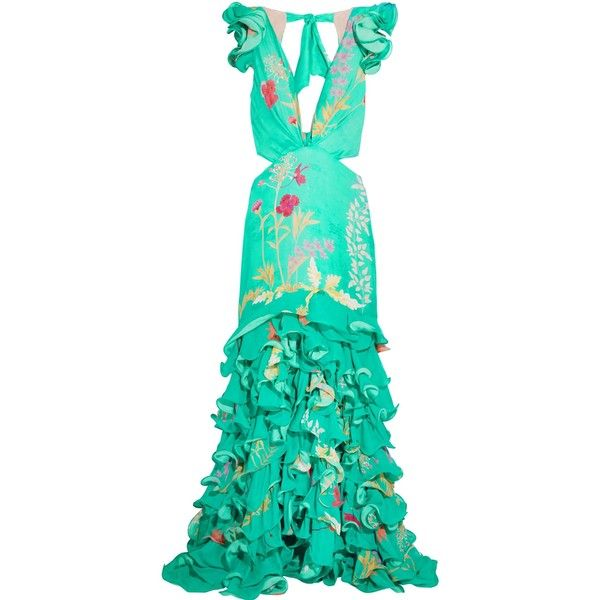 JOHANNA ORTIZ   Yemanya ruffled cutout floral-print silk gown (€1.385) ❤ liked on Polyvore featuring dresses, gowns, floral ball gown, green dress, silk evening gowns, green evening dress and green silk dress