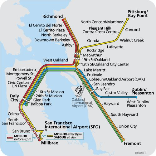 BART Map - Bay Area Rapid Transit- transportation in and around the San Francisco Bay Area