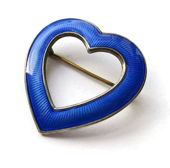 SOLD. Vintage blue guilloche enamel love heart brooch, Aksel Holmsen Norway, Scandinavian silver, Norwegian jewelry, Valentines Day lovers. https://www.etsy.com/listing/261614717/vintage-blue-guilloche-enamel-love-heart