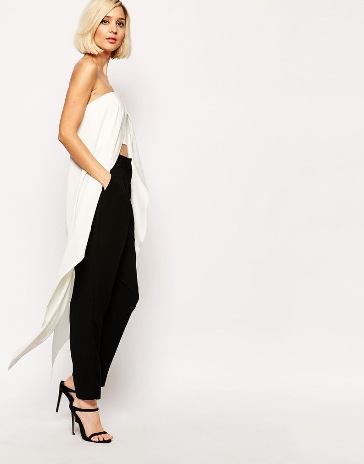 White Bandeau Maxi Cape Crop Top, Lavish Alice, €57.53, with black pants and black heeled sandals. Buy it here: http://justbestylish.com/10-best-crop-tops-for-summer-2015/5/